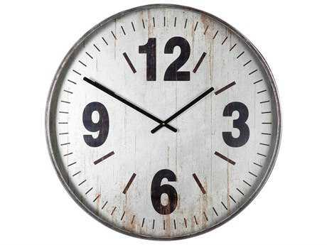 Uttermost Marino Brushed Silver Oversized Wall Clock UT06432
