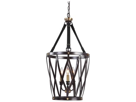 Uttermost Marlandin Oil Rubbed Bronze With Antique Brass Accents & Dark Leather Straps 16'' Wide Mini Chandelier UT22148