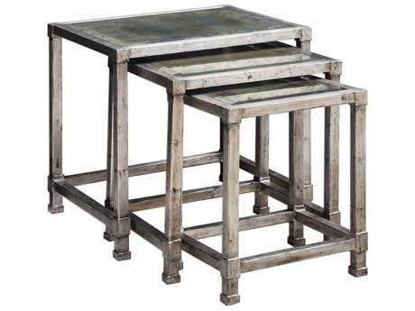 Uttermost Matthew Williams Keanna Antiqued Silver Nesting Tables (Set of Three)