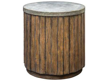 Uttermost Maxfield Fruitwood Stain & A Pewter Glaze 22'' Round Drum Table UT25779