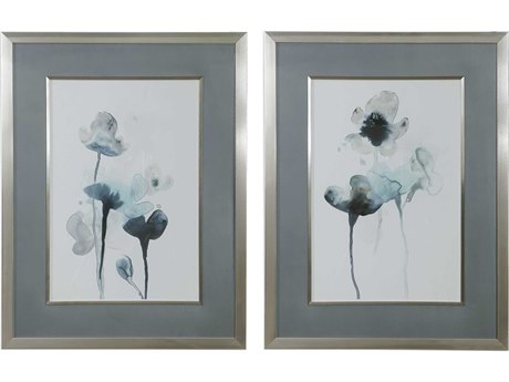 Uttermost Midnight Blossoms Glass Wall Art UT33688