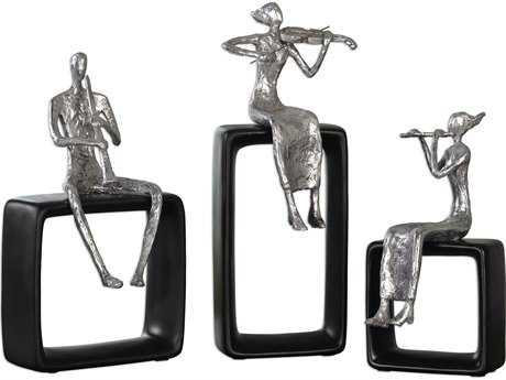Uttermost Musical Ensemble Silver & Matte Black Statues (Three-Piece Set) UT20062