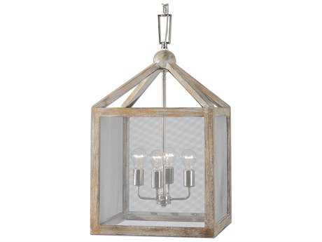 Uttermost Nashua Wooden Gray Taupe Four-Light Lantern Pendant