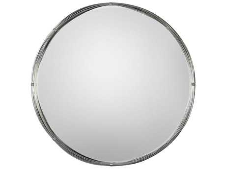 Uttermost Ohmer Antiqued Metallic Silver Leaf 40'' Round Metal Coils Wall Mirror UT09225