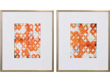 Uttermost Overlapping Teal And Orange Modern Wall Art (Set of 2) UT33616