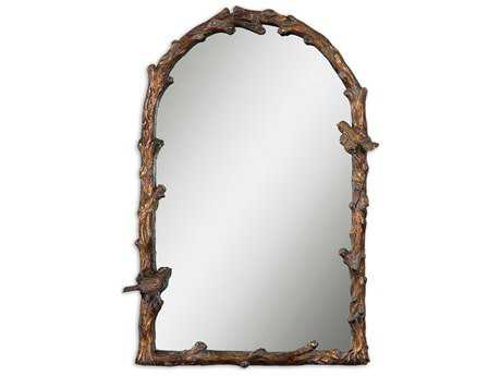 Uttermost Paza 26 x 37 Antique Gold Arch Wall Mirror