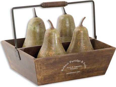 Uttermost Decorative Pears In Basket (5 Piece Set) UT19170