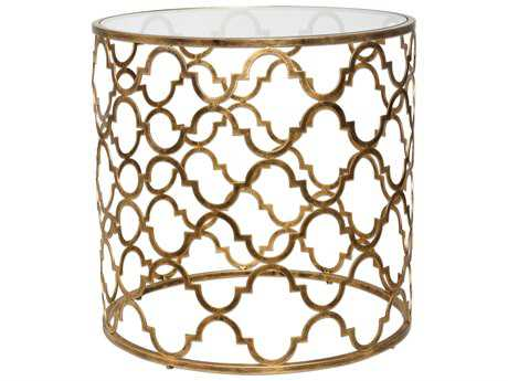Uttermost Quatrefoil 25 Round Antique Gold Drum Table UT25016