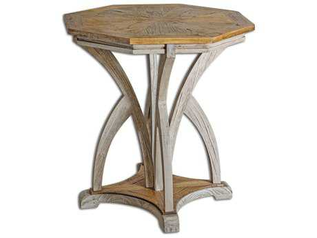 Uttermost Ranen 26.13 Octagon Aged White Accent Table UT25623