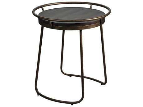 Uttermost Rayen Burnished Antique Copper & Walnut 22'' Round Accent Table UT25946