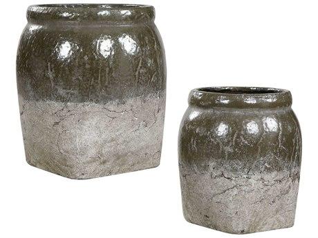 Uttermost Rocia Stone Gray / Metallic Gray-green Decorative Bowls (Set of 2)