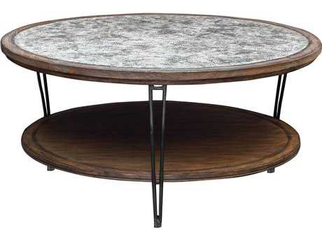 Uttermost Saskia Fruitwood with Aged Ivory & Gray 44'' Round Rustic Coffee Table