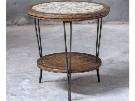 Uttermost Saskia Aged Ivory-gray / Vineyard Fruitwood Iron 24'' Wide Round End Table UT25446