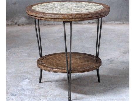 Uttermost Saskia Aged Ivory-gray / Vineyard Fruitwood Iron 24'' Wide Round End Table