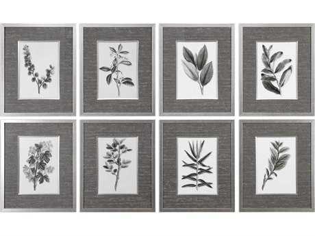 Uttermost Sepia Gray Leaves Prints (Set of Eight) UT33658