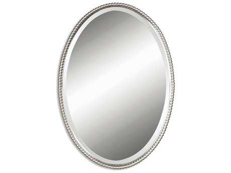 Uttermost Sherise 22 x 32 Brushed Nickel Oval Wall Mirror UT01102B