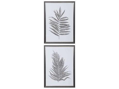 Uttermost Silver Ferns Glass Wall Art UT33685