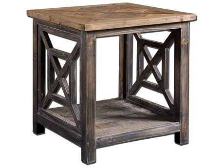 Uttermost Spiro 19.75 Square Reclaimed Wood End Table UT24263