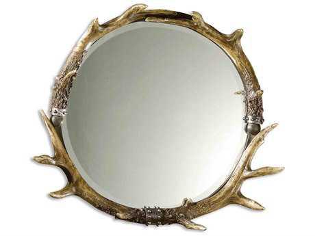 Uttermost Stag Horn 26 x 24 Round Wall Mirror UT11556B