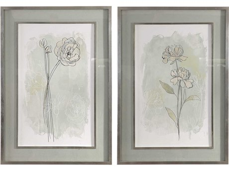 Uttermost Stone Flower Study Glass Wall Art UT41582