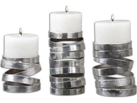 Uttermost Tamaki Silver Candle Holder (3 Piece Set)