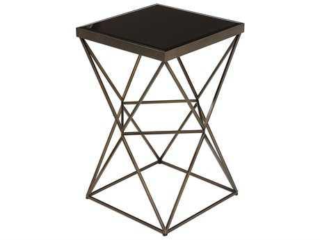 Uttermost Uberto Antique Bronze 15'' Square Caged Frame End Table UT24614