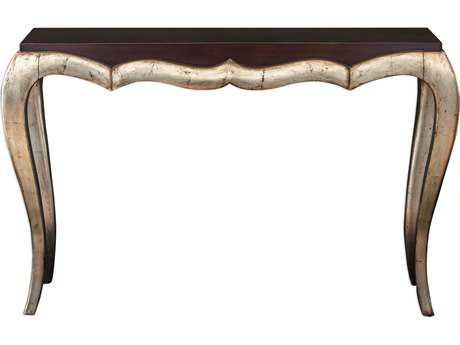 Uttermost Verena Dark Mahogany & Antique Champagne Silver Leaf 54''L x 16''W Rectangular Console Table