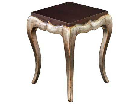 Uttermost Verena Dark Mahogany & Antique Champagne Silver Leaf 20''L x 20''W Square End Table UT25785