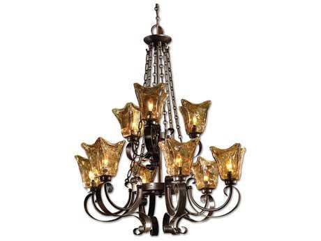 Uttermost Vetraio Oil Rubbed Bronze Nine-Light 31'' Wide Chandelier