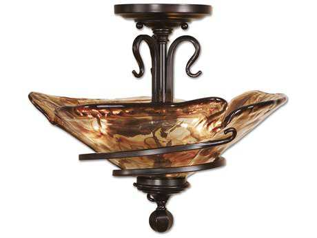 Uttermost Vitalia Oil Rubbed Bronze Three-Light Semi Flush Mount UT22269