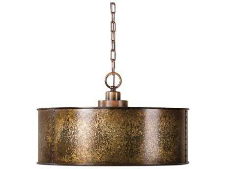Uttermost Wolcott Golden Galvanized Three-Light Pendant
