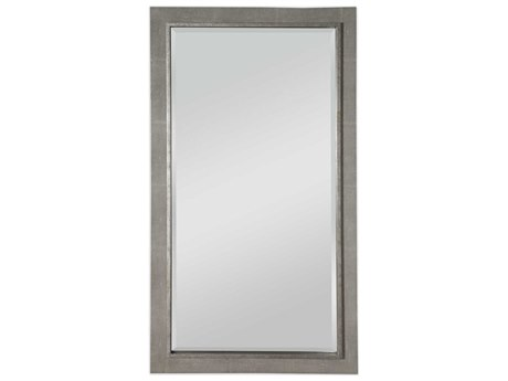 Uttermost Zigrino Dusty Gray / Textured Silver Leaf 38''W x 68''H Rectangular Wall Mirror