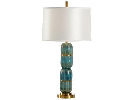 Wildwood Lamps Aquafina Sea Glass And Antique Brass Buffet Lamp WL13158
