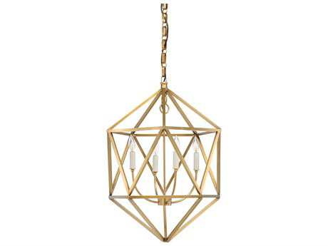 Wildwood Barley Antique Brass Four-Light 20'' Wide Pendant Light WL67063