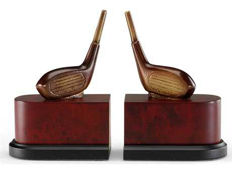 Wildwood Lamps Driver Patina On Cast Brass Wood Plinth Pair Of Bookends WL393978