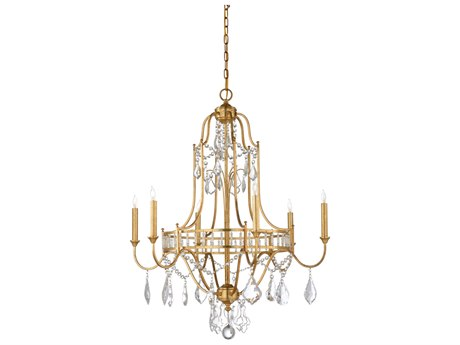 Wildwood Buckhead Antique Gold Leaf Finish With Clear Crystals Six-Light 29.5'' Wide Chandelier WL67173