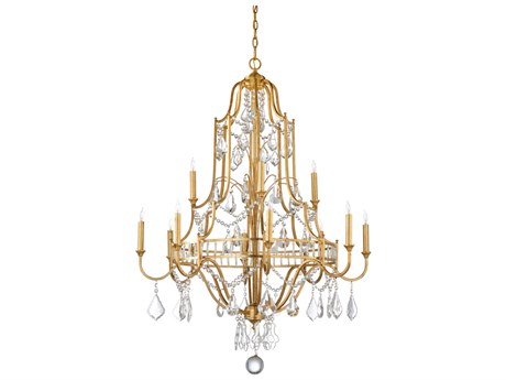 Wildwood Buckhead Antique Gold Leaf Finish With Clear Crystals 12-Light 35'' Wide Chandelier WL67174
