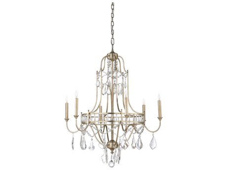 Wildwood Buckhead Antique Silver Leaf With Clear Crystals Six-Light 29.5'' Wide Chandelier WL67175
