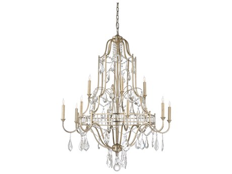 Wildwood Buckhead Antique Silver Leaf With Clear Crystals 12-Light 35'' Wide Chandelier WL67176