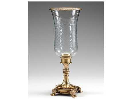Wildwood Lamps Solid Cast Brass Patina Crystal Hurricane Candleholder WL300287