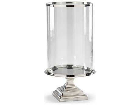 Wildwood Lamps Square Base Hurricane Cast Alloy Silver Candle Holder