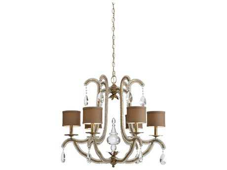 Wildwood Lamps Ella Silver Leaf On Iron Crystal Beads Six-Light 27'' Wide Chandelier WL66823