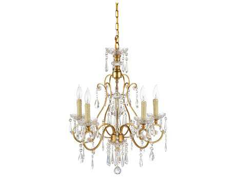 Wildwood Gold And Crystals Gold Leaf And Clear Five-Light 20'' Wide Chandelier WL67021