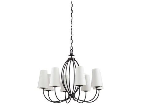 Wildwood Lamps Satin Black Eight-Light 29'' Wide Medium Chandelier