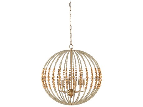 Wildwood Lamps Textured White / Antique Gold Leaf 6-light 24'' Wide Medium Chandelier