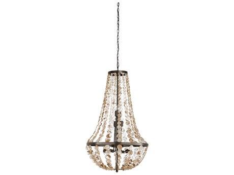 Wildwood Lamps Bronze / Coffee Tinted Eight-Light 24'' Wide Glass Medium Chandelier WL67288