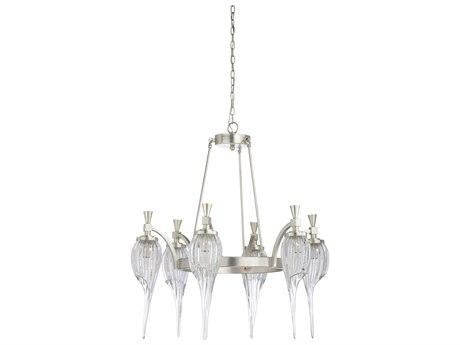 Wildwood Lamps Silver Leaf / Clear Six-Light 33'' Wide Glass Medium Chandelier WL67291