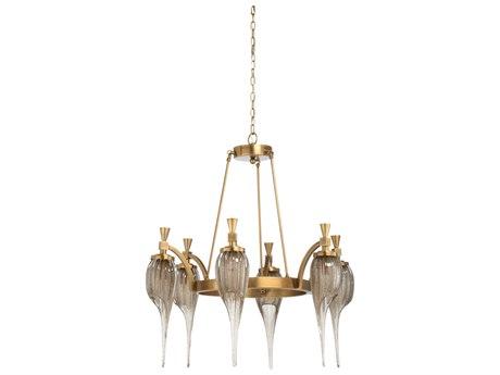 Wildwood Lamps Antique Brass / Coffee Tint Six-Light 33'' Wide Glass Medium Chandelier WL67292