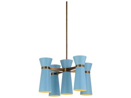 Wildwood Lamps Carolina Blue / Bronze Five-Light 28'' Wide Medium Chandelier WL67324