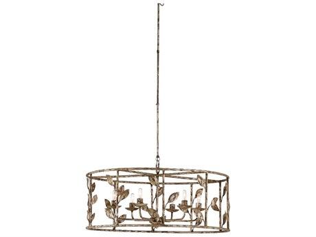 Wildwood Lamps Rustic Silver Leaf Six-Light 32'' Wide Medium Chandelier WL67341